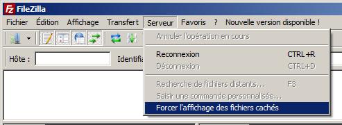 """C'est tout simple :Allez dans le menu, au 5ème élément de la liste : Serveur cochez """"Forcer l'affichage des fichiers cachés"""" !"""