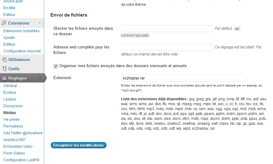 Sur Wordpress 3.2.1