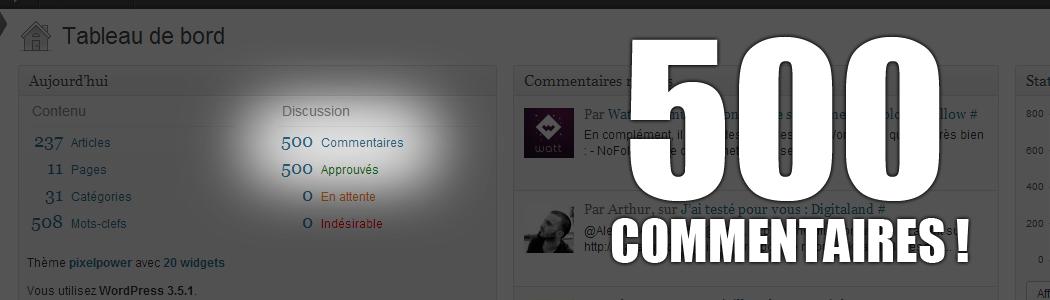 Et là, il y a plus de 500 commentaires